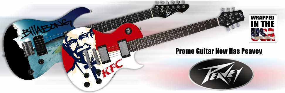 Custom Peavey electric and acoustic promotional guitars, Rockmaster, SC1.